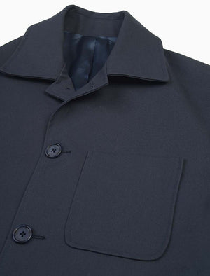Blue Waxed Cotton Overcoat | 40 Colori