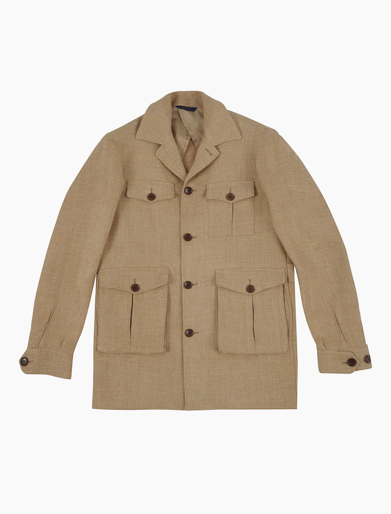 Beige Textured Herringbone Linen Field Jacket | 40 Colori