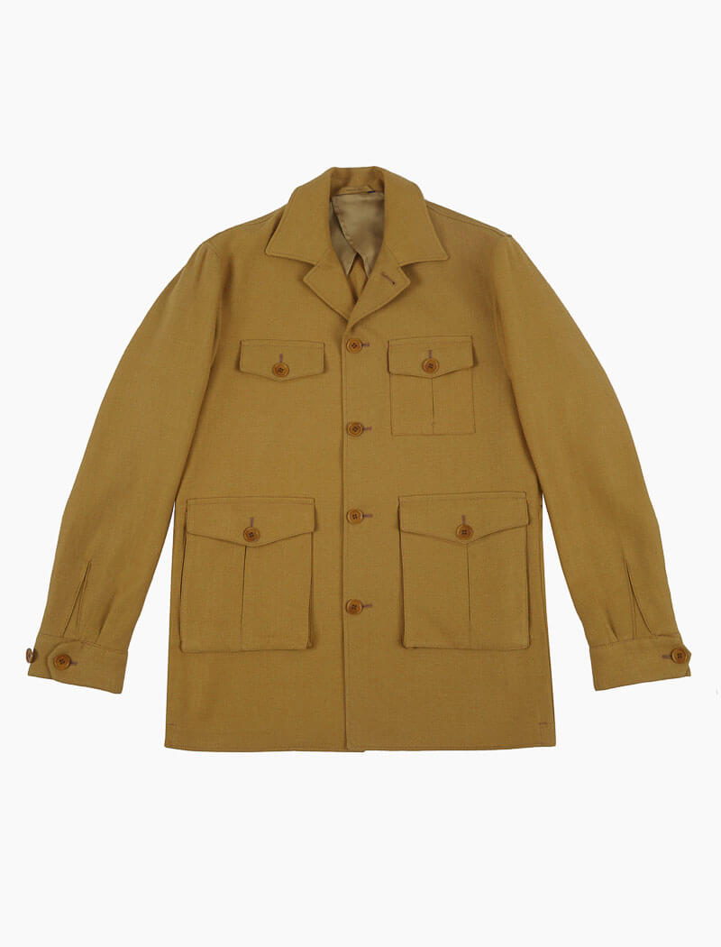 Mustard Herringbone Cotton & Linen Field Jacket | 40 Colori