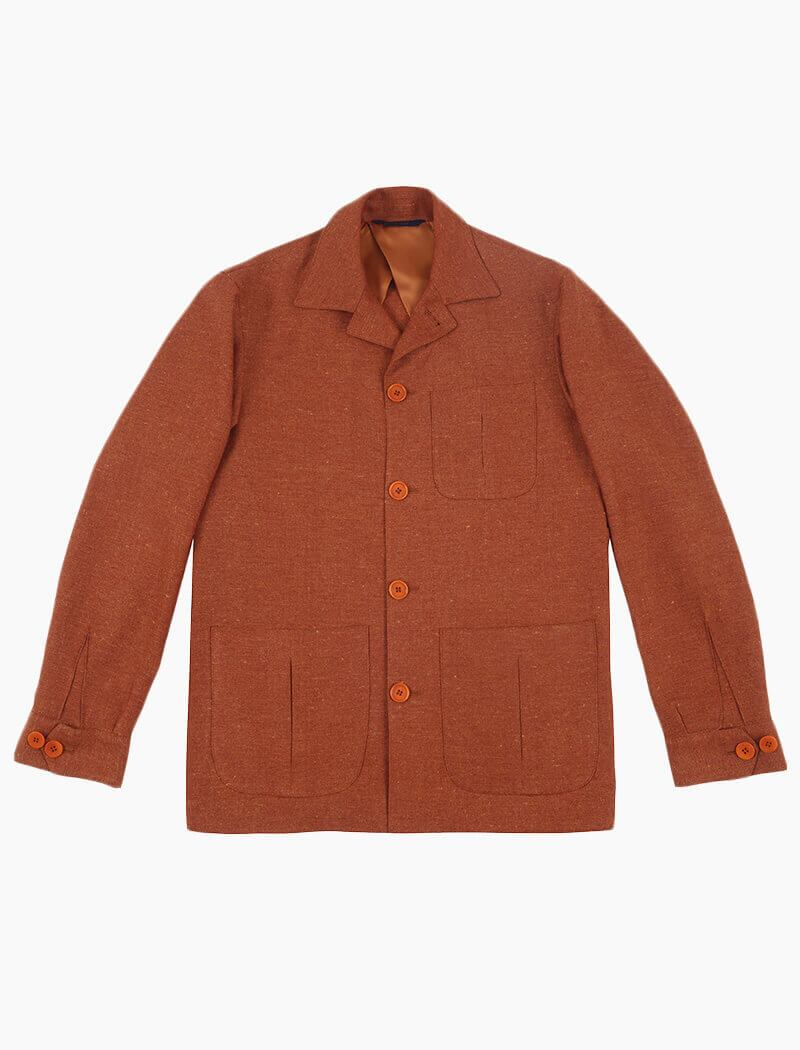Rust Herringbone Cotton & Linen Shacket | 40 Colori