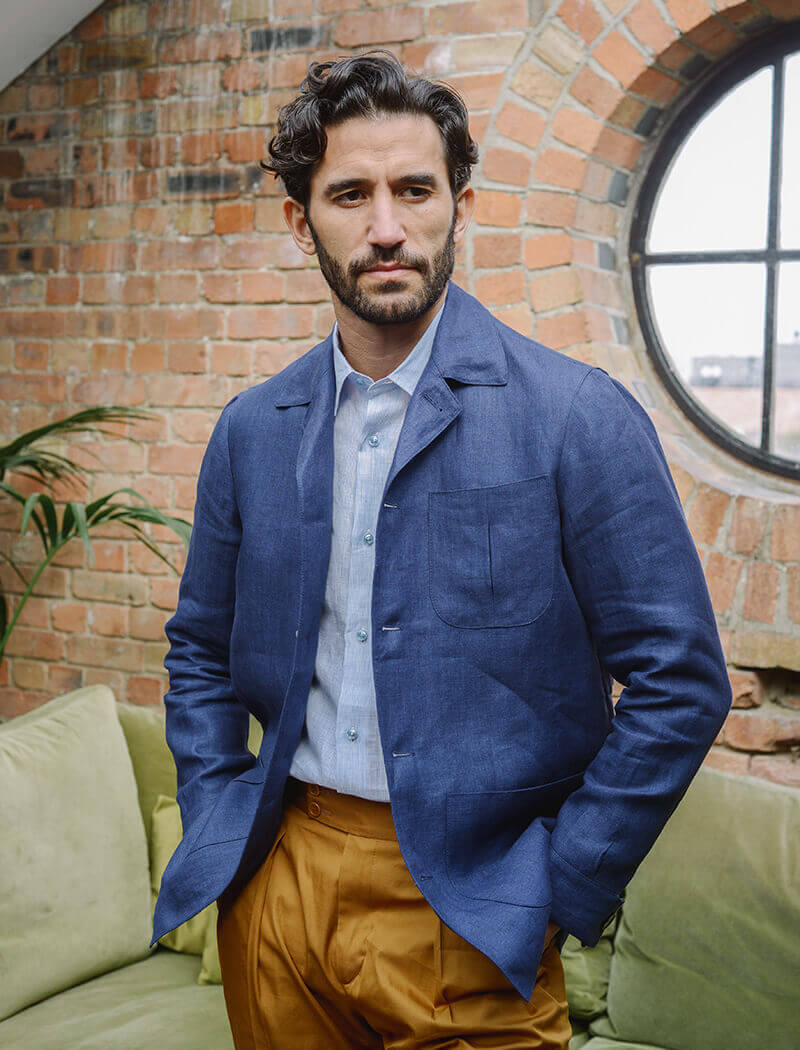 Royal Blue Herringbone Linen Shacket | 40 Colori