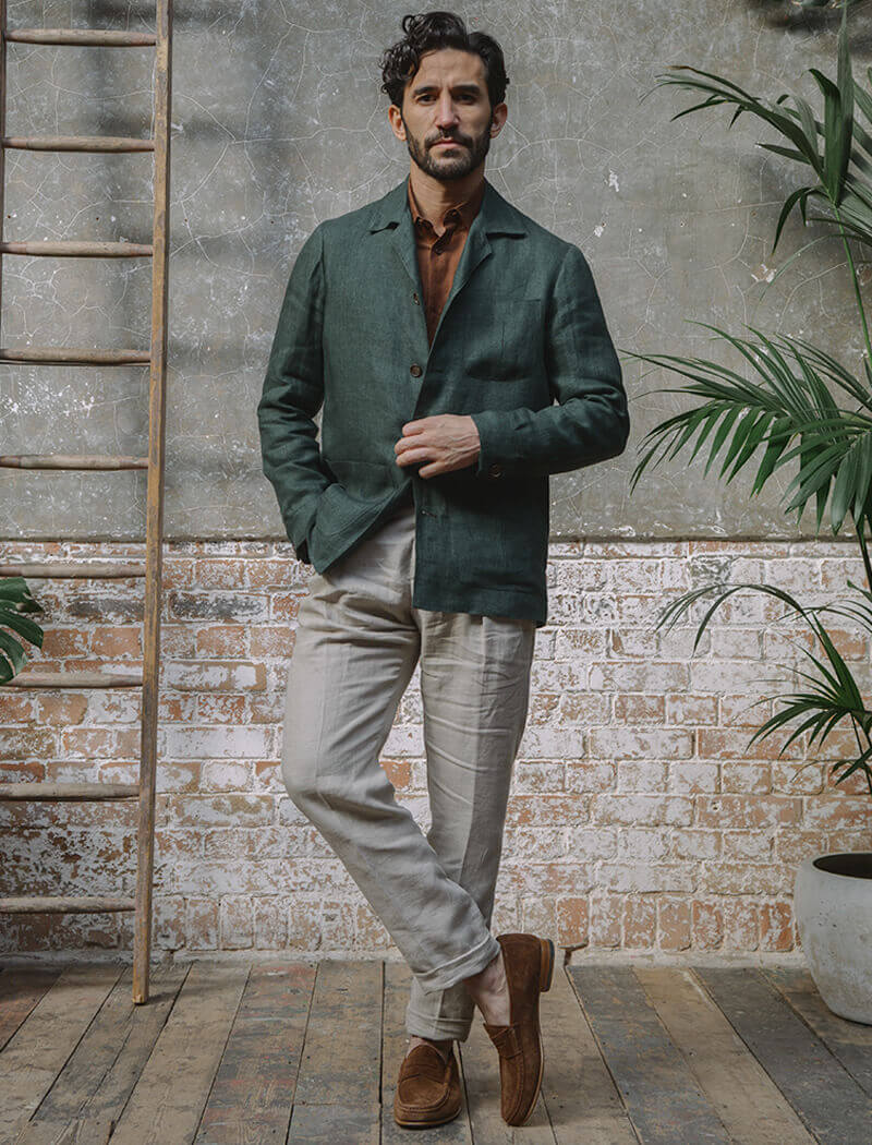 Dark Green Linen Shacket | 40 Colori