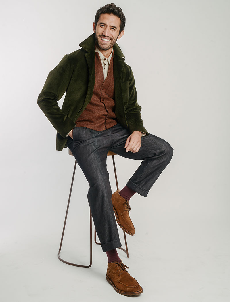 Olive Green Corduroy Short Overcoat | 40 Colori