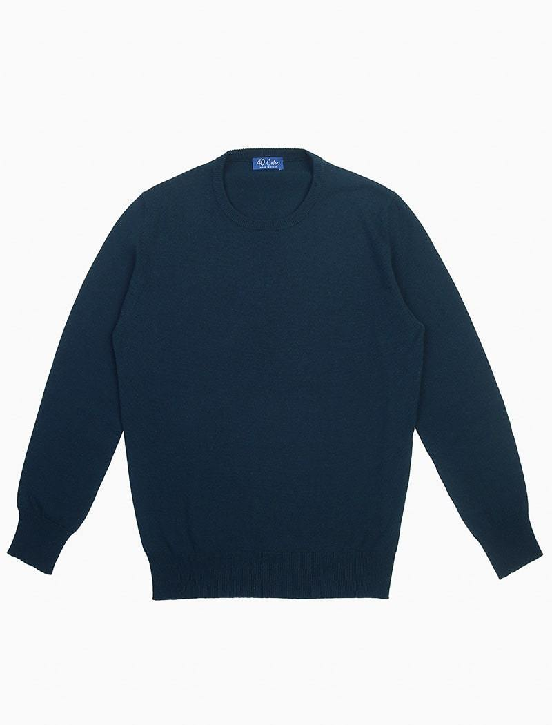 Deep Teal Crew Neck Cashmere Jumper | 40 Colori
