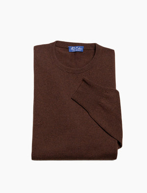 Brown Crew Neck Cashmere Jumper