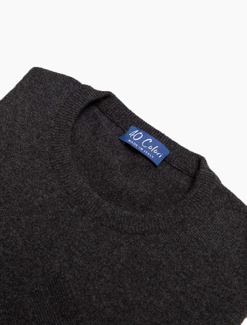Charcoal Crew Neck Cashmere Jumper | 40 Colori