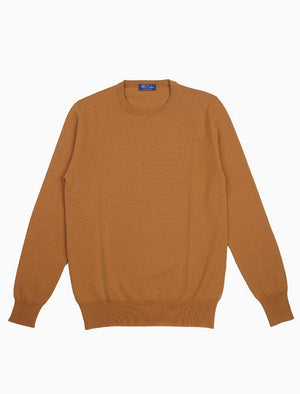 Golden Yellow Crew Neck Cashmere Jumper | 40 Colori