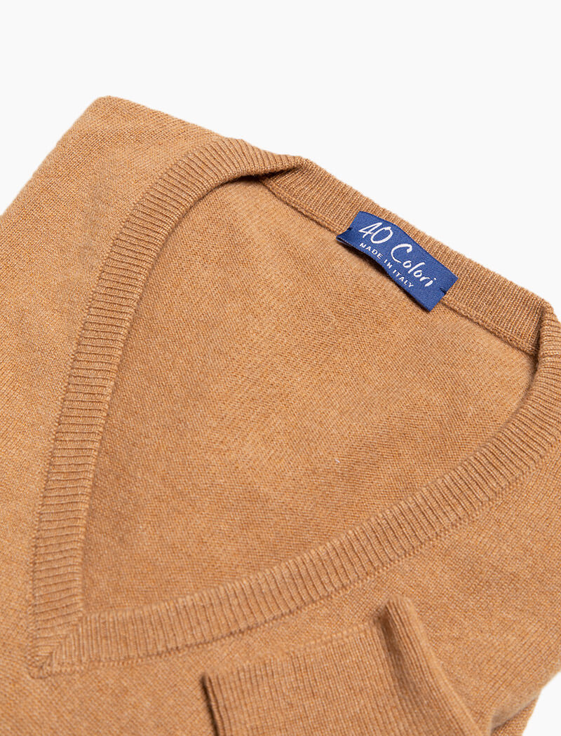 Beige Deep V Neck Cashmere Jumper