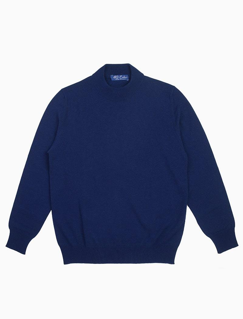 Blue Mock Neck Cashmere Jumper | 40 Colori