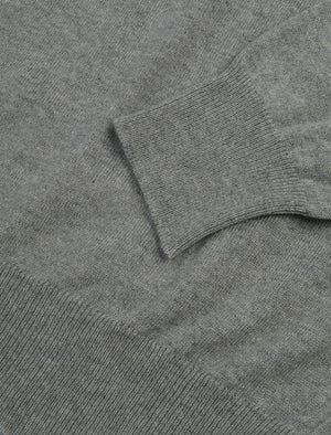 Grey Mock Neck Cashmere Quarter Zip Jumper | 40 Colori
