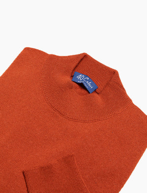 Rust Mock Neck Cashmere Jumper