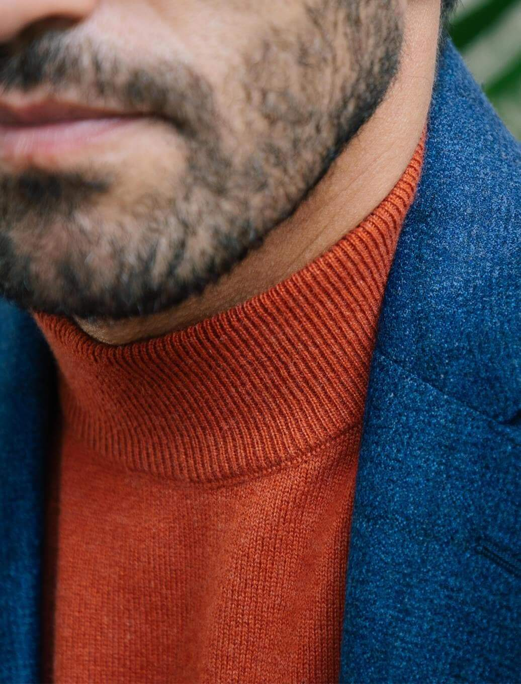 Rust Mock Neck Cashmere Jumper | 40 Colori
