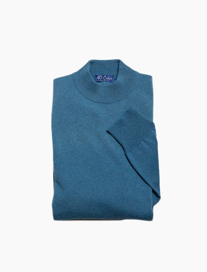 Teal Mock Neck Cashmere Jumper | 40 Colori