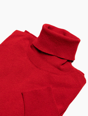 Red Rollneck Cashmere Jumper | 40 Colori