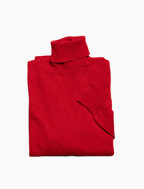 Red Rollneck Cashmere Jumper