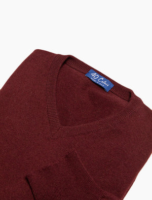 Burgundy V Neck Cashmere Jumper