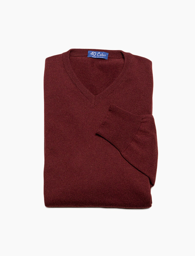 Burgundy V Neck Cashmere Jumper | 40 Colori
