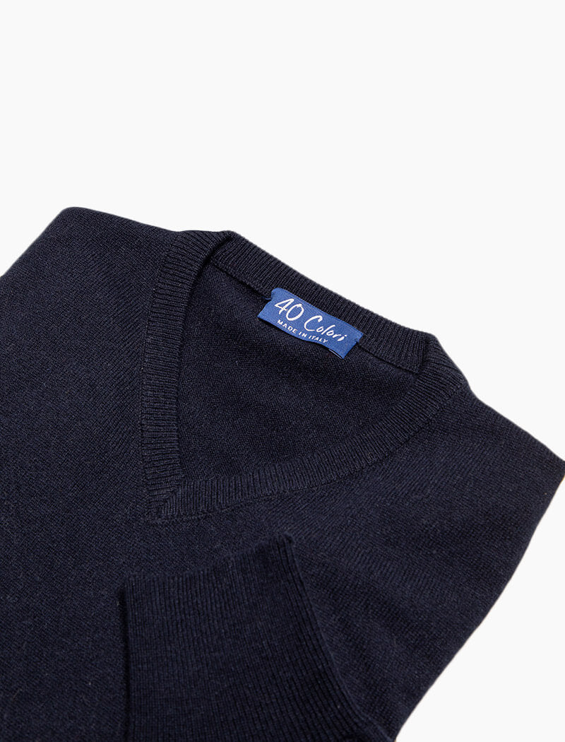 Dark Blue V Neck Cashmere Jumper | 40 Colori