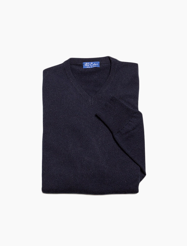 Dark Blue V Neck Cashmere Jumper