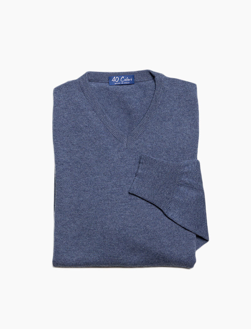 Light Blue V Neck Cashmere Jumper | 40 Colori