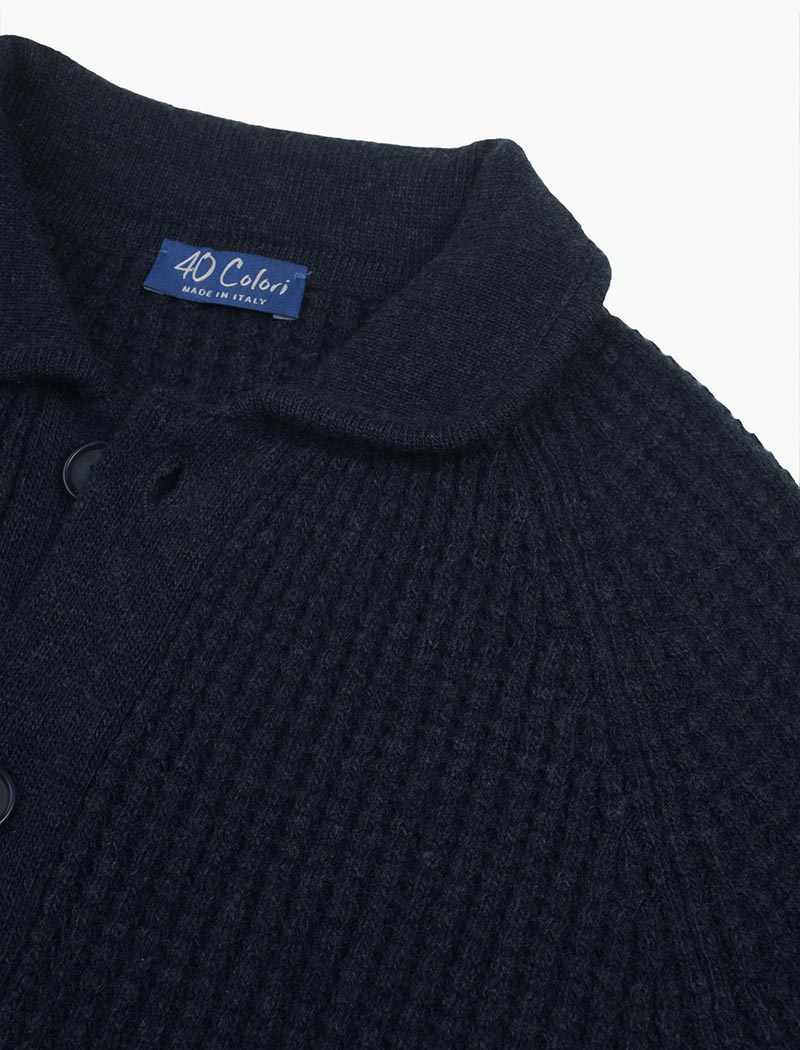 Blue Waffle Wool & Cashmere Knitted Overshirt | 40 Colori