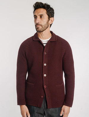 Burgundy Waffle Wool & Cashmere Knitted Overshirt