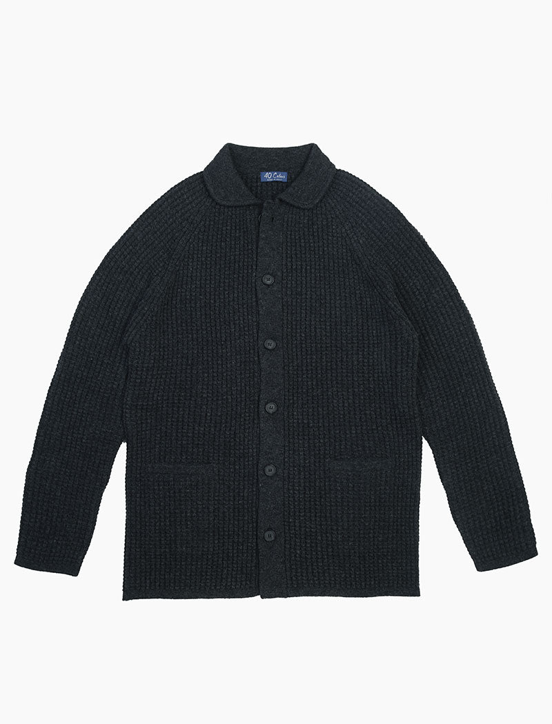 Charcoal Waffle Wool & Cashmere Knitted Overshirt