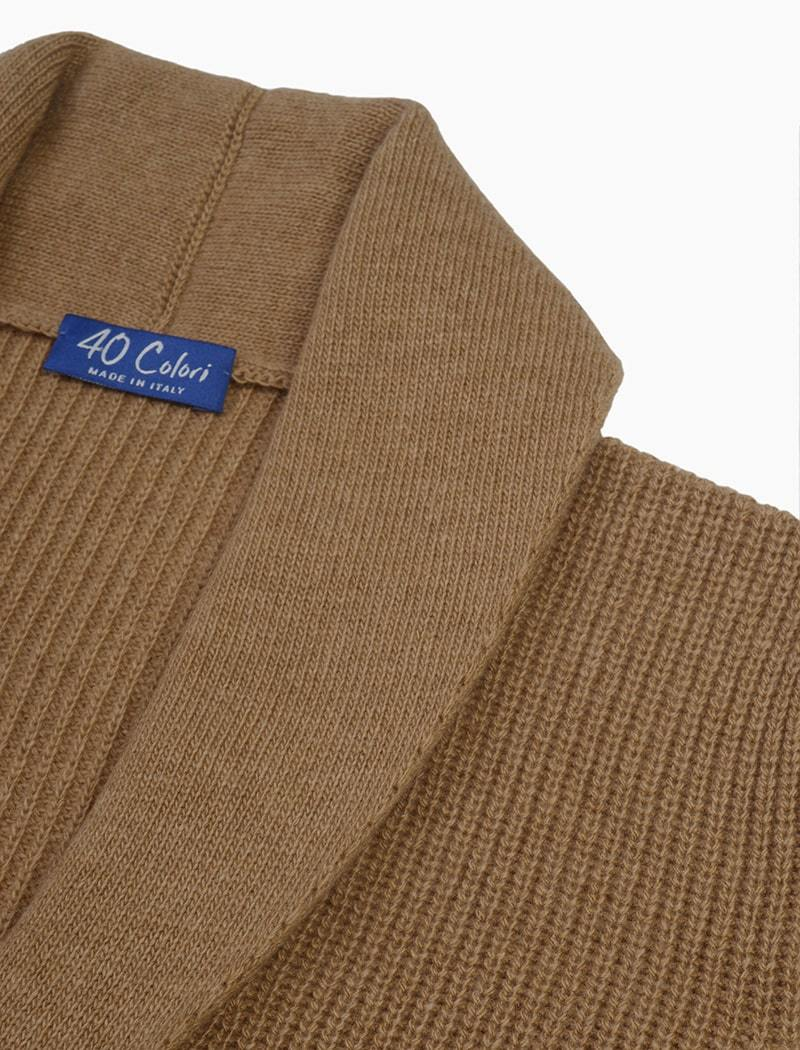 Beige Ribbed Shawl Neck Wool & Cashmere Cardigan | 40 Colori