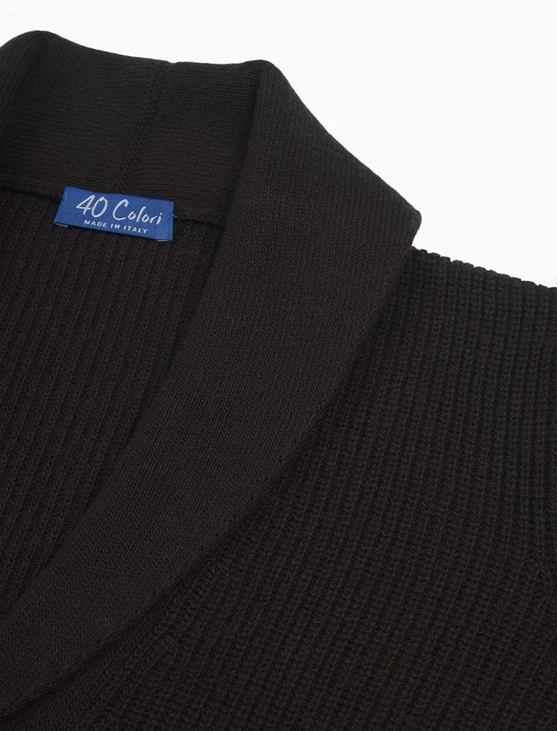 Dark Brown Ribbed Shawl Neck Wool & Cashmere Cardigan | 40 Colori