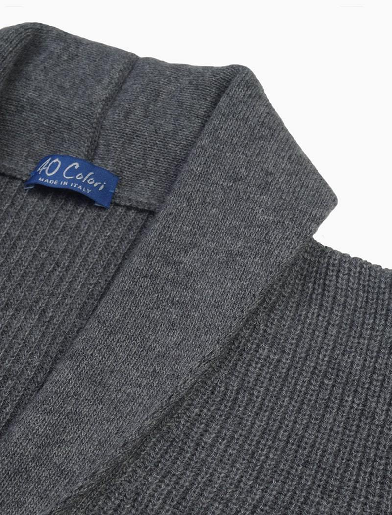 Grey Ribbed Shawl Neck Wool & Cashmere Cardigan | 40 Colori