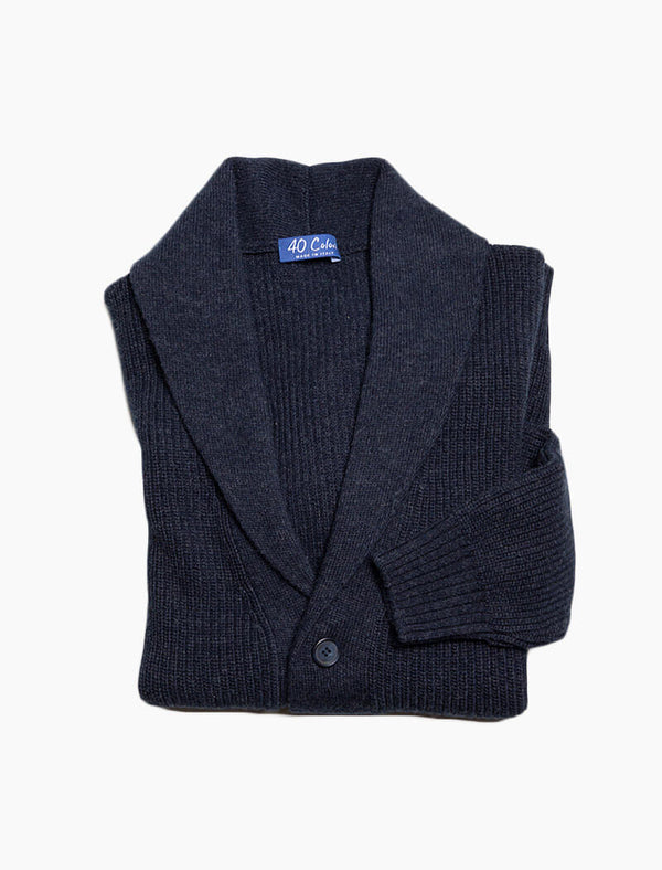 Navy Ribbed Shawl Neck Wool & Cashmere Cardigan