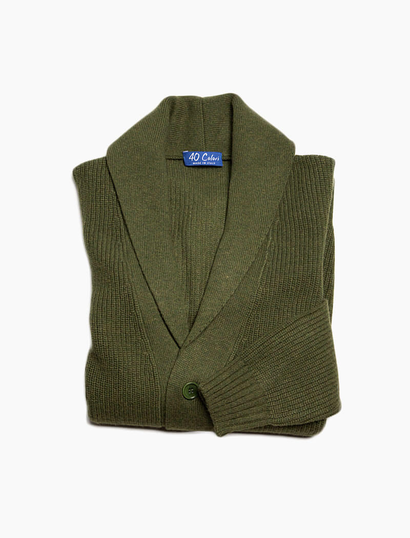 Olive Green Ribbed Shawl Neck Wool & Cashmere Cardigan | 40 Colori