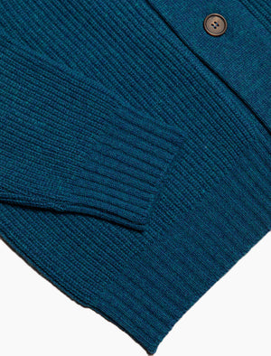 Petrol Blue Ribbed Shawl Neck Wool & Cashmere Cardigan