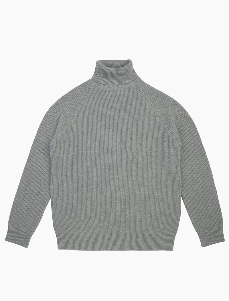 Grey Ribbed Wool & Cashmere Roll Neck | 40 Colori