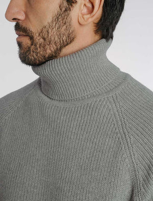 Grey Ribbed Wool & Cashmere Roll Neck Jumper