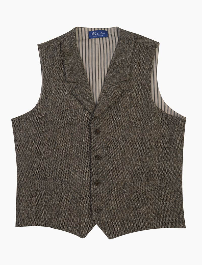 Taupe Donegal Wool Waistcoat | 40 Colori