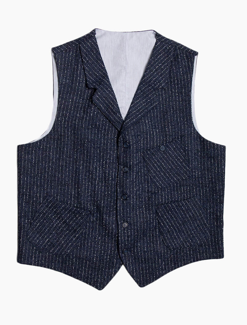 Navy Textured Pin Stripe Wool Waistcoat | 40 Colori