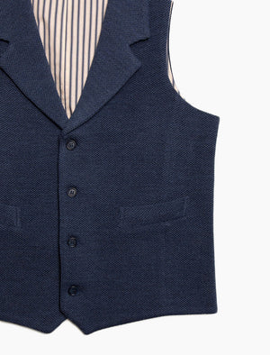 Navy Knitted Wool Fabric Waistcoat