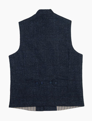 Blue & Black Prince Of Wales Wool Mandarin Waistcoat | 40 Colori