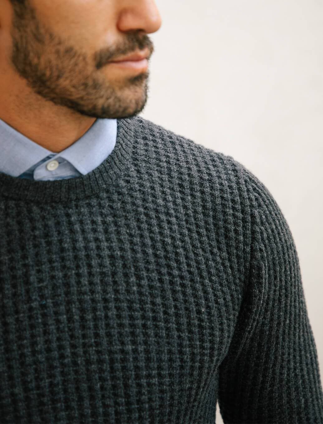 Charcoal Waffle Knit Wool & Cashmere Jumper | 40 Colori