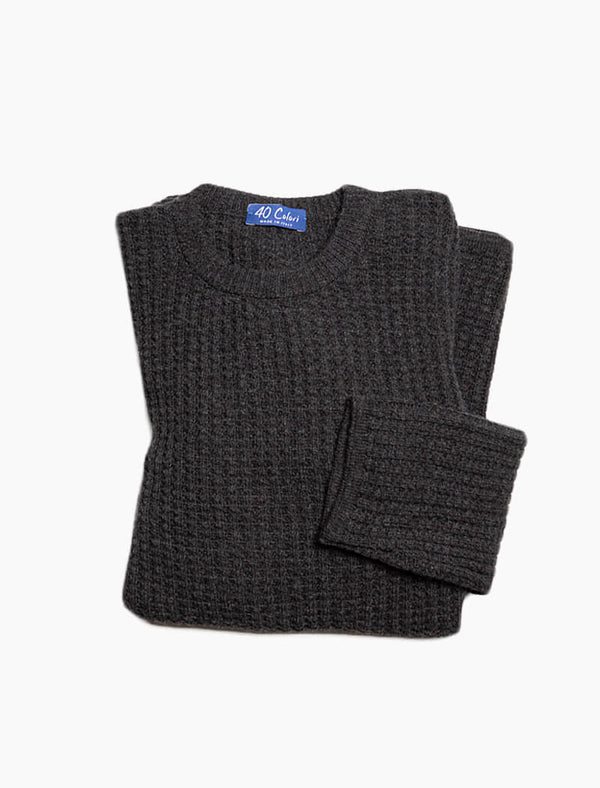 Charcoal Waffle Knit Wool & Cashmere Jumper