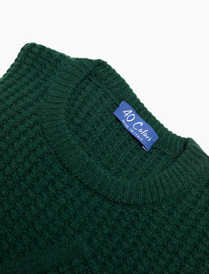 Green Waffle Knit Wool & Cashmere Jumper