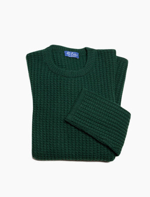 Green Waffle Knit Wool & Cashmere Jumper | 40 Colori