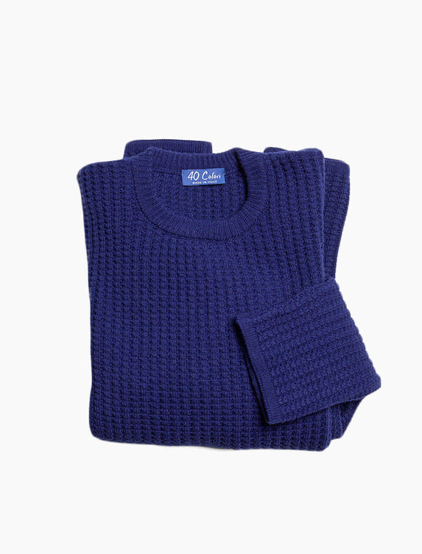 Royal Blue Waffle Knit Wool & Cashmere Jumper