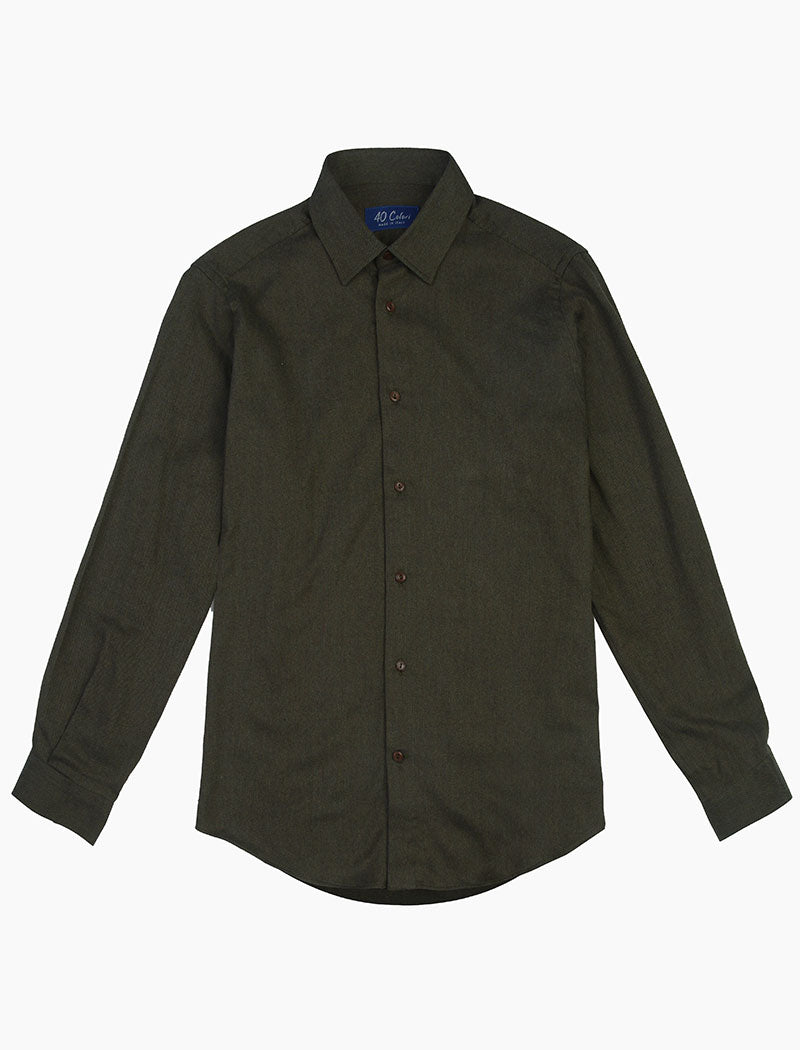 Dark Green Flannel Cotton Shirt | 40 Colori