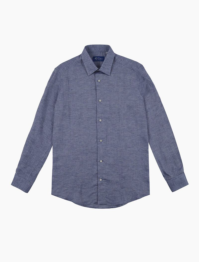 Blue Small Diamonds Linen Shirt | 40 Colori