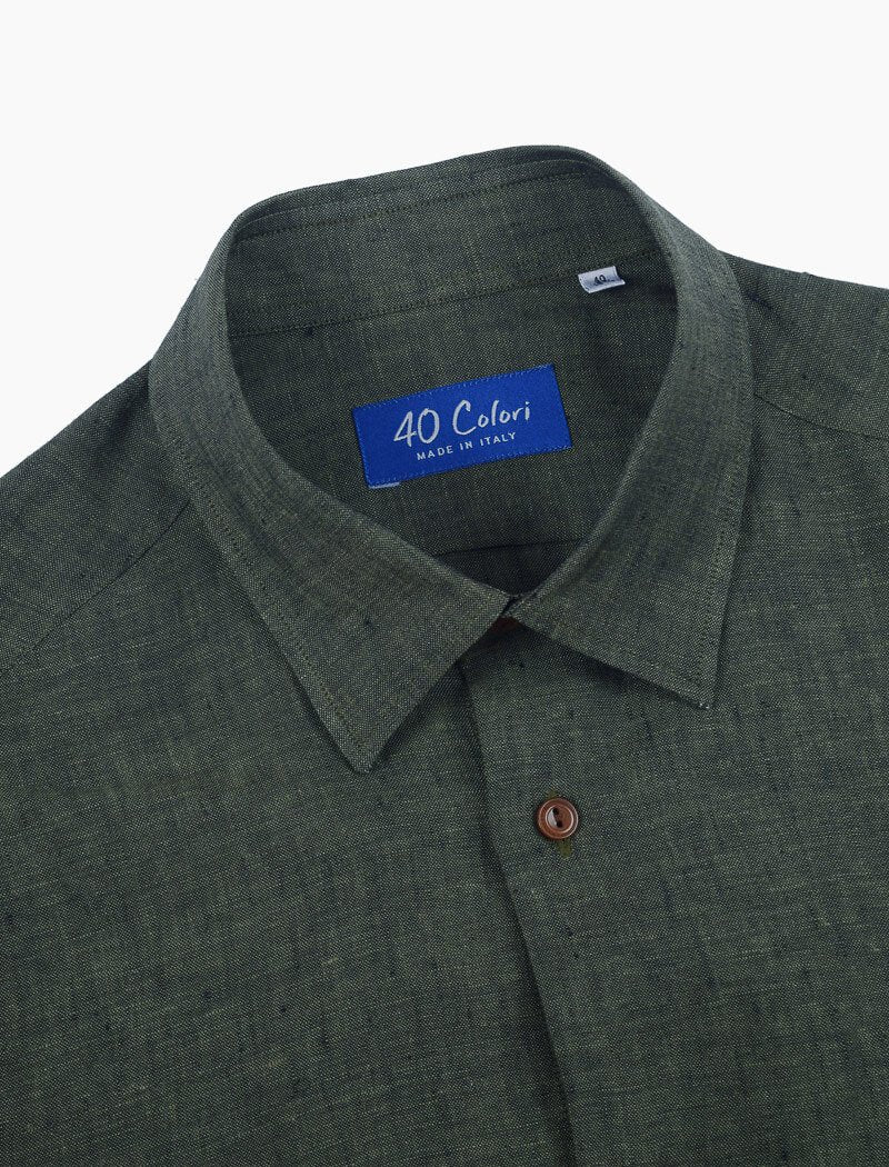 Dark Olive Green Linen Shirt | 40 Colori