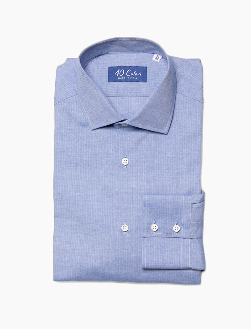 Light Blue Small Herringbone Cotton Shirt | 40 Colori