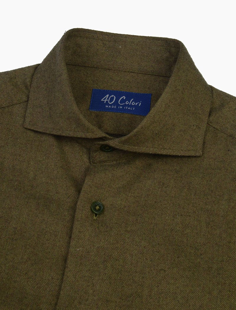 Olive Green Flannel Cotton Shirt | 40 Colori