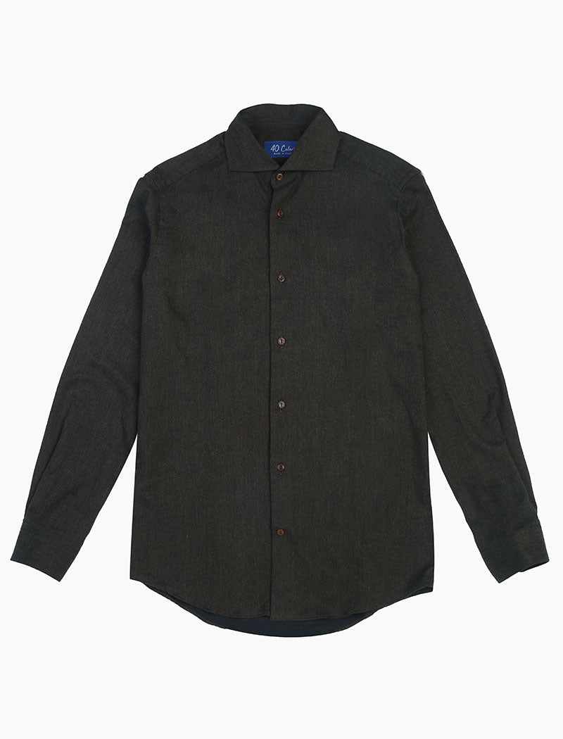 Dark Brown Flannel Cotton Shirt | 40 Colori